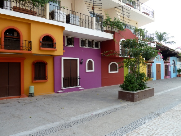 Multicolored street fronts