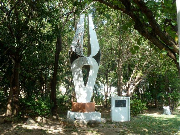 Sculpture along the Isla Rio Cuale Path