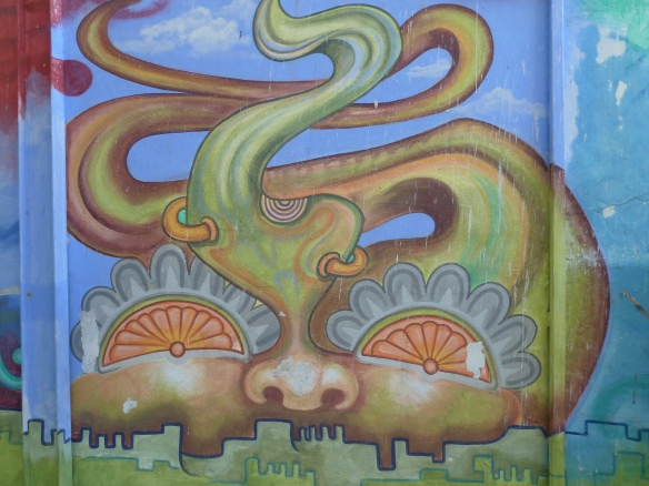 Wall mural along the River Cuale.