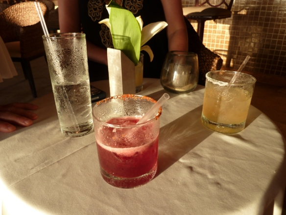 Sunset cocktails, does it get any better than this? Hibiscus margarita, Absolute Pear and soda, traditional lime margarita.