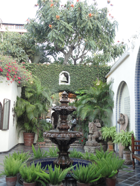 A fountain in the courtyard.