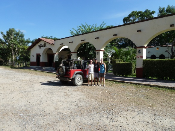 Us in front of our jeep at the Tequila farm.