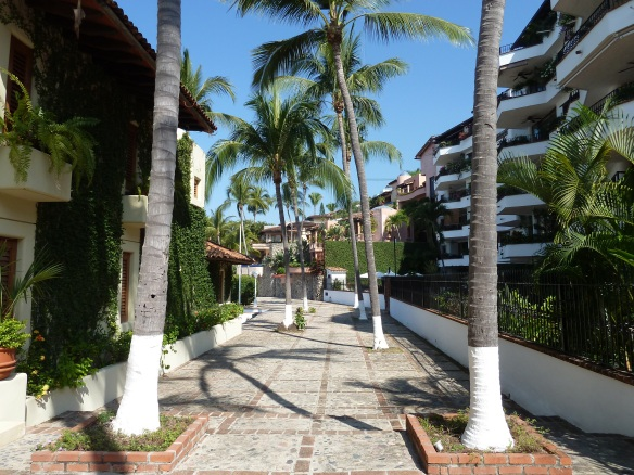 Part of the path with villas, condos and palm trees.