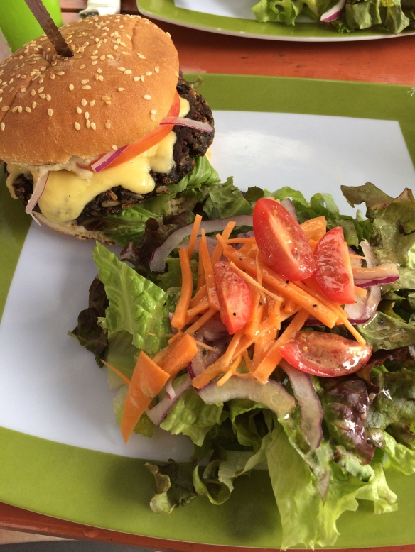A delicious veggie burger and simple side salad. Salud has a farm to table approach, finding ingredients from local purveyors.