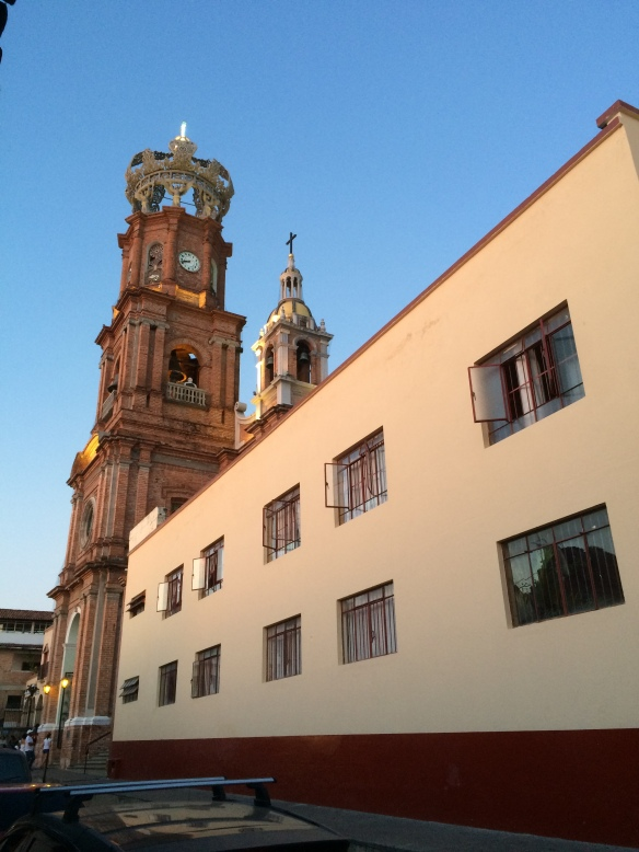 Evening sun casts light on the Lady of Guadalupe Church.