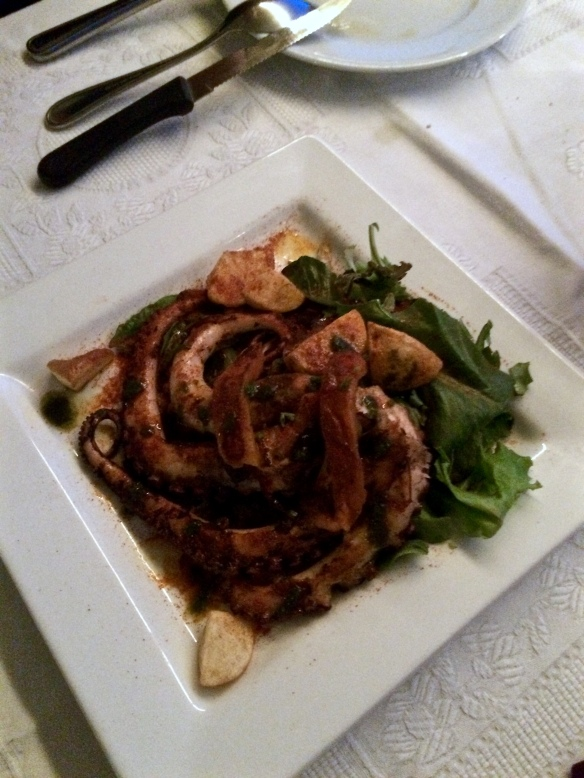 Grilled octopus. Mom, this was for you! Ha ha.